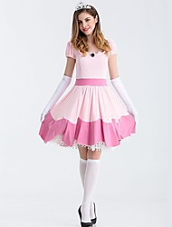 cheap -Princess Dress Cosplay Costume Women's Vacation Dress Christmas Halloween Masquerade Festival / Holiday Elastic Satin Pink Women's Easy Carnival Costumes Solid Colored / 1 Hair Jewelry / Skirt