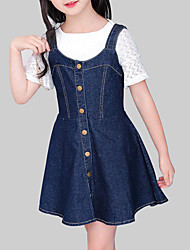 cheap -Kids Girls' Casual Daily Going out Solid Colored Sleeveless Dress Blue