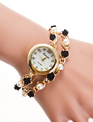 cheap -Women's Bracelet Watch Quartz Gold Casual Watch Analog Ladies Pearls Fashion - Gold
