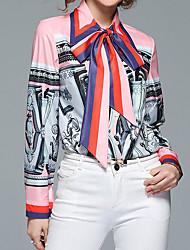 cheap -Women's Daily Street chic Puff Sleeve Shirt - Color Block Print Shirt Collar Gray / Lace up