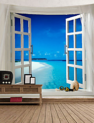 cheap -Window Landscape Wall Tapestry Art Decor Blanket Curtain Picnic Tablecloth Hanging Home Bedroom Living Room Dorm Decoration Polyester Sea Ocean Beach