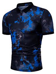 cheap -Men's Daily Basic Plus Size Polo - Geometric Print Shirt Collar White / Short Sleeve / Summer