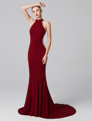 cheap -Mermaid / Trumpet Cut Out Minimalist Holiday Cocktail Party Prom Dress High Neck Sleeveless Court Train Jersey with Pleats 2020 / Formal Evening