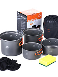 cheap -Naturehike Camping Cookware Mess Kit Camping Pot Sets 10pcs Portable Aluminium alloy for 2 - 3 person Outdoor Camping / Hiking Picnic BBQ 2 * Camping Pot 1 * Bamboo Shovel 3 * Bowl 1 * Soup Ladle 2