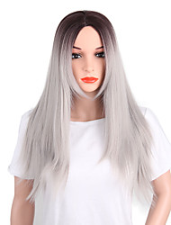 cheap -women's synthetic wig long yaki straight grey middle part layered haircut natural wigs costume wig yaki straight middle part