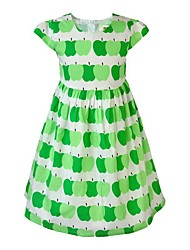 cheap -Toddler Girls' Simple / Basic Daily / Holiday Floral / Print Print Sleeveless Cotton / Acrylic / Polyester Dress Green 2-3 Years(100cm) / Cute