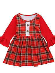 cheap -Toddler Girls' Simple / Vintage / Basic School / Going out Solid Colored / Check / Patchwork Patchwork Long Sleeve Cotton Dress Red 2-3 Years(100cm)
