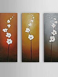 cheap -Oil Painting Hand Painted - Abstract Floral / Botanical Comtemporary Modern Stretched Canvas / Three Panels