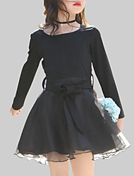 cheap -Kids Girls' Casual Daily Going out Patchwork Patchwork Long Sleeve Dress Black