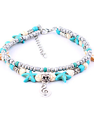 cheap -Anklet feet jewelry Ladies Boho Bohemian Women's Body Jewelry For Date Going out Turquoise Silver Plated Alloy Music Music Notes Turquoise