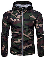 cheap -Men's Spring Summer Jacket Daily Sports Voiles & Sheers Military Hooded Regular Camo / Camouflage Long Sleeve White / Army Green / Khaki M / L / XL