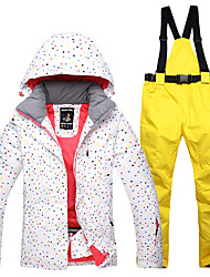 cheap -ARCTIC QUEEN Ski Jacket with Pants Women's Ice Skating Winter Jacket Bib Pants Black Yellow Rock Green Cotton Outdoor Skating Wear Waterproof Windproof Warm Solid Colored Spot Ski / Snowboard