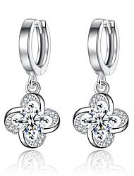 cheap -Women's Diamond Cubic Zirconia tiny diamond Drop Earrings Clover Ladies Fashion Elegant Zircon Earrings Jewelry Silver / Purple For Daily Ceremony