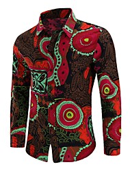 cheap -Men's Going out Plus Size Shirt Geometric Print Long Sleeve Tops Vintage Chinoiserie Red Khaki