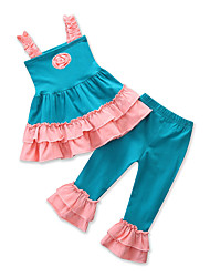 cheap -Toddler Girls' Casual Active Daily Going out Patchwork Jacquard Flower Ruffle Lace up Sleeveless Regular Regular Cotton Clothing Set Blue