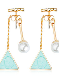 cheap -Women's Turquoise Drop Earrings Geometrical Long Ball Aquarius Ladies Fashion western style Crystal Imitation Pearl Resin Earrings Jewelry Light Blue For Wedding Party / Evening