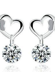 cheap -Women's Cubic Zirconia Drop Earrings Heart Simple Classic Fashion Earrings Jewelry Silver For Daily