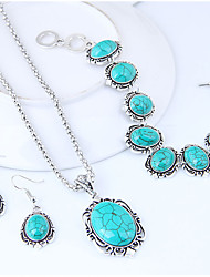 cheap -Women's Jewelry Set Geometrical Ladies Vintage European Fashion Resin Earrings Jewelry Turquoise For Causal