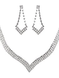cheap -Women's Cubic Zirconia Jewelry Set Drop Earrings Choker Necklace Drop Classic Elegant Vintage Imitation Diamond Austria Crystal Earrings Jewelry Silver For Wedding Party Engagement