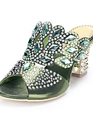 cheap -Women's Sandals Chunky Heel Open Toe Rhinestone / Crystal / Sparkling Glitter Polyurethane Fashion Boots Spring / Summer Dark Blue / Red / Green / Buckle / Party & Evening / EU36