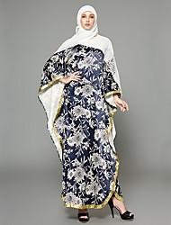 cheap -Women's Daily / Going out Boho / Sophisticated Batwing Sleeve Maxi Loose Chiffon / Swing / Abaya Dress - Floral / Geometric Ruffle / Lace up / Print High Waist Spring Rainbow M XL