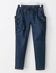 cheap -Women's Cotton Jeans Pants - Solid Colored Hole Blue