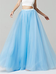 cheap -Blue A-Line Floor Length Tulle Bridesmaid Dress with by LAN TING BRIDE®