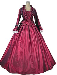 cheap -Victorian Maria Antonietta Rococo Dress Women's Lace Japanese Cosplay Costumes Emerald Green / Red+Black / Purple Solid Color Poet Sleeve Ankle Length