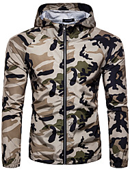 cheap -Men's Sports / Going out Spring / Summer Regular Jacket, Camo / Camouflage Hooded Long Sleeve Spandex Print White / Army Green / Khaki