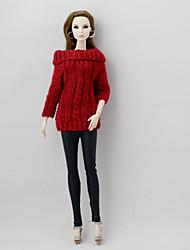 Недорогие -Кукольный кардиган и свитер Отдельные органов Брюки для Кукла Барби Мода текстильный Полиэстер / Хлопок Шерстяная ткань 2 pcs Игрушка ручной работы для подарков на день рождения девочки / Дети