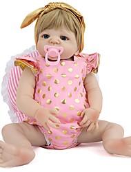 cheap -NPKCOLLECTION NPK DOLL Reborn Doll Girl Doll Baby Girl 22 inch Full Body Silicone Silicone Vinyl - Newborn lifelike Cute Hand Made Child Safe New Design Kid's Unisex / Girls' Toy Gift / Floppy Head