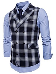 cheap -Men's Daily / Holiday Active Spring / Fall Plus Size Regular Vest, Plaid Peaked Lapel Sleeveless Polyester Green / Black / Red / Slim