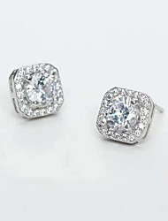 cheap -Women's Diamond Cubic Zirconia Moissanite Stud Earrings Round Cut Dainty Ladies Sweet Fashion Bridal Zircon Earrings Jewelry Silver For Wedding Party Masquerade Engagement Party Prom Promise