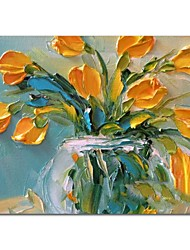 cheap -Oil Painting Hand Painted Still Life Floral / Botanical Comtemporary Modern Stretched Canvas With Stretched Frame