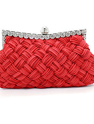 cheap -Women's Crystals Satin Evening Bag Rhinestone Crystal Evening Bags Almond / Fuchsia / Sillver Gray