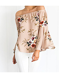 cheap -Women's Daily Street chic Blouse - Floral Layered Boat Neck Pink / Summer / Ruffle