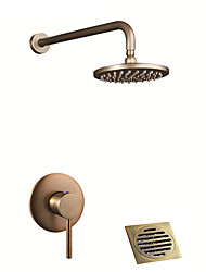 cheap -Shower Faucet - Country Antique Brass / Antique Copper Shower System Ceramic Valve Bath Shower Mixer Taps With Drain / Single Handle Three Holes