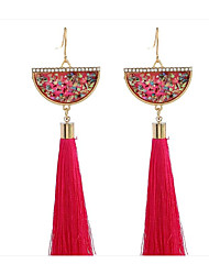 cheap -Women's Crystal Drop Earrings Hanging Earrings Tassel Ladies Simple Tassel Fashion African Earrings Jewelry Black / Red / Royal Blue For Gift Daily