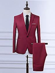 cheap -Men's Plus Size Work Business Formal Vintage Burgundy Suits, Solid Colored Notch Lapel Long Sleeve Polyester Wine / Light Blue / Khaki