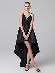 cheap -Ball Gown Little Black Dress Minimalist Cocktail Party Prom Dress Plunging Neck Sleeveless Asymmetrical Satin with Pleats 2020