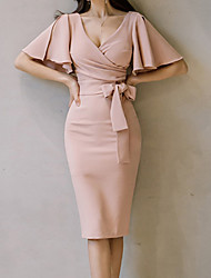 cheap -Daily Butterfly Sleeves Slim Bodycon Dress Solid Colored Ruched High Waist V Neck Summer Cotton Pink M L XL / Sexy
