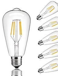 cheap -6pcs 4W 360lm E26 / E27 LED Filament Bulbs ST64 4 LED Beads COB Decorative Warm White Cold White 220-240V