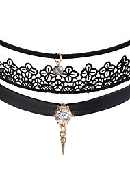 cheap -Women's Choker Necklace Ladies Gothic Sweet Fashion Leather Lace Black Pink Necklace Jewelry For Party / Evening Daily