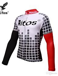 abordables -Jaggad Homme Manches Longues Maillot Velo Cyclisme Noir / Rouge Cyclisme Maillot Vêtements de Compression / Sous maillot VTT Vélo tout terrain Vélo Route Séchage rapide Des sports Nylon Spandex