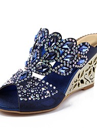 cheap -Women's Sandals Wedge Heels Wedge Heel Peep Toe Rhinestone / Crystal / Sparkling Glitter Polyurethane Fashion Boots Spring / Summer Dark Blue / Red / Green / Buckle / Party & Evening