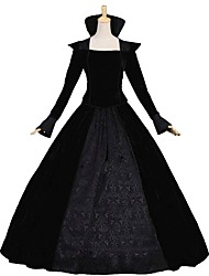 cheap -Queen Victoria Rococo Victorian 18th Century Dress Outfits Women's Costume Black Vintage Cosplay Long Sleeve Floor Length Long Length Ball Gown Plus Size Customized