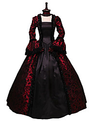cheap -Rococo Victorian 18th Century Dress Lace Costume Black / Red Vintage Cosplay Party Prom Long Sleeve Ball Gown