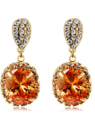 cheap -Women's Orange Crystal Drop Earrings Classic Stylish Romantic Elegant Gold Plated Imitation Diamond Earrings Jewelry Orange For Daily Formal 2pcs