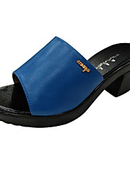 cheap -Women's Shoes Microfiber Summer Gladiator Slippers & Flip-Flops Block Heel Peep Toe Black / Purple / Blue