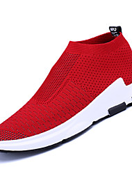 cheap -Men's Comfort Shoes Knit / Tulle Spring / Fall Loafers & Slip-Ons Walking Shoes Black / Red / Gray